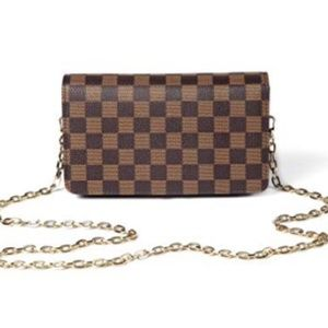 Daisy Rose Bags - Checkered Cross body bag PU Vegan Leather